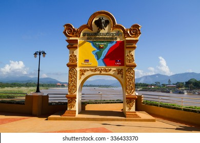 Signs showing the Golden Triangle area three countries along the Mekong river in Chiang Saen, Chiang Rai the drug-producing area in history.