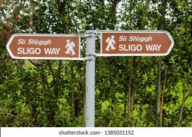 Signs for the Sligo Way walking trail
