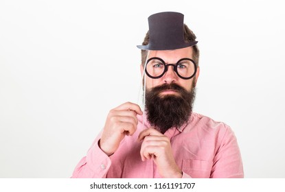 Signs someone is smarter than you. Guaranteed ways appear smarter. Tricks to seem smarter than you are. Man bearded hipster hold cardboard top hat and eyeglasses to look smarter white background.