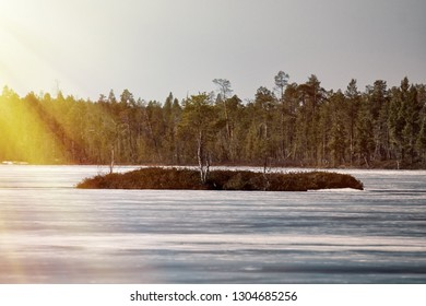 Signs of spring for Earth watchers, Earth observers. Snow on the ice lakes saturated with water and blue. Forest lake in Lapland and the sun's rays. Islet with birch