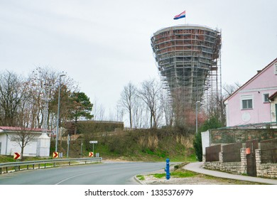 The signs of war - the destroyed tower in Vukovar, Croatia