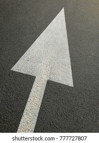 signs with white arrow on the asphalt