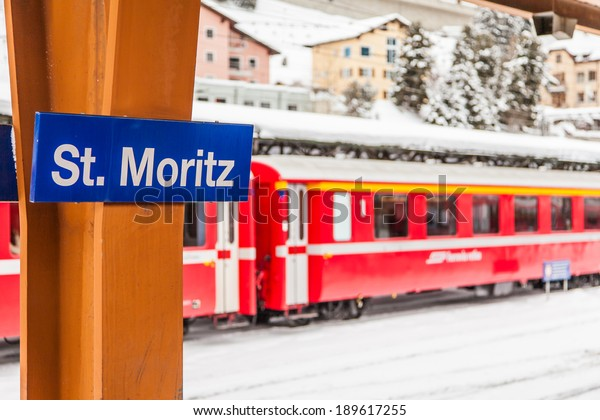 Signseen of the famous St. Moritz Train Station in Switzerland