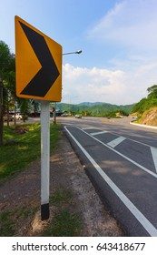 Signtraffic on mountain road of travel and transportation