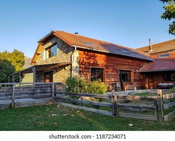 SIGOYER, FRANCE - SEPTEMBER 8, 2018: Exterior of a converted barn in Sant Laurent, near Sigoyer, Tallard, Hautes