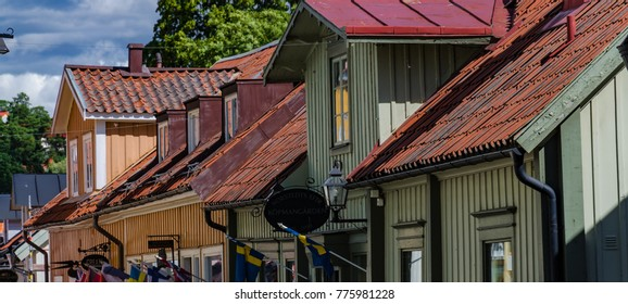 Sigtuna, Sweden - 08122016 : colorful houses in historical old street of Sigtuna city
