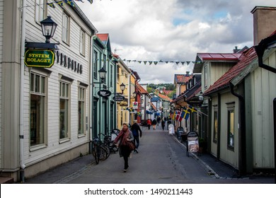 Sigtuna, Sweden 14/09/2018: The main street with traditional old houses in Sigtuna, Sweden.