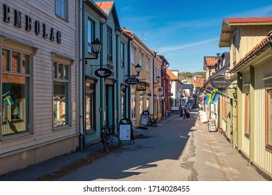 SIGTUNA, SWEDEN, APRIL 22, 2020: Shopping street in the old city center of Sigtuna during spring.