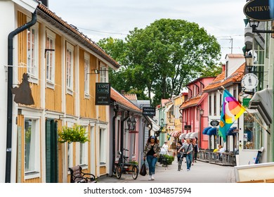 SIGTUNA, SWEDEN - AUGUST 26, 2008: Traditional wooden houses on Stora Gatan street in heart of old town