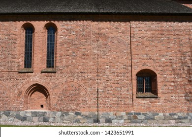 SIGTUNA, SWEDEN - MAY 14/2019: Wall with buffered arcs in st Mary church in Sigtuna