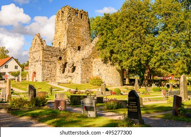 SIGTUNA, SWEDEN - SEP 17, 2016: St Olof's Church ruin, Sigtuna, the oldest town in Sweden, having been founded in 980.
