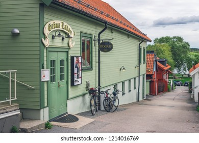 Sigtuna, Sweden -September 23, 2018: view of an old cinema, movie theater on Stora Gatan street in heart of old town. Founded in 980 Sigtuna is the oldest city in Sweden, a popular tourist destination
