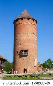 Sigulda, Latvia - AUG 16, 2020: The tower of medieval castle in Turaida