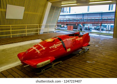 Sigulda / Latvia - Dec 2015: The bob sport vehicle in the Sigulda Bobsleigh and Luge Track. Winter in Baltic States.