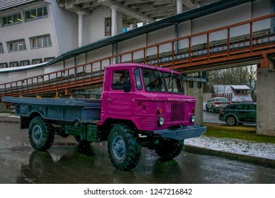 Sigulda / Latvia - Dec 2015: The old Soviet truck in the Sigulda Bobsleigh and Luge Track. Winter in Baltic States.