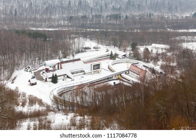 SIGULDA, LATVIA - JANUARY 31:  Sigulda bobsleigh, luge and skeleton track.  Sigulda is a town in Latvia and the track is pictured on January 31, 2017.