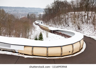 SIGULDA, LATVIA - JANUARY 31:  A close up picture of Sigulda bobsleigh, luge and skeleton track.  Sigulda is a town in Latvia and the track is pictured on January 31, 2017.