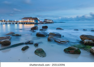 Sihanoukville beach after sunset, popular resort in Cambodia.