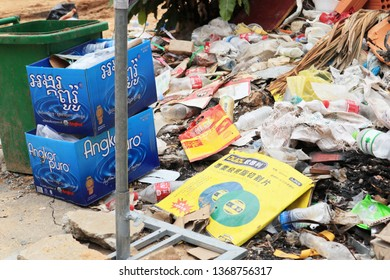 SIHANOUKVILLE, CAMBODIA. 2019 April 1st. Garbage Problems in Sihanoukville City