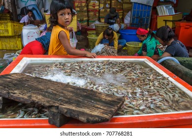 SIHANOUKVILLE, CAMBODIA - 7/20/2015: A young girl watches as others sort through shrimp brought in by fishermen in a fishing village.