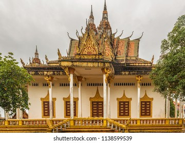 Sihanoukville, Cambodia - Dec 26, 2017: Front facade of the great Buddhist temple Wat Int Nhean called Wat Krom with all its ornaments in Sihanoukville, also known as Kampong Som, Cambodia.