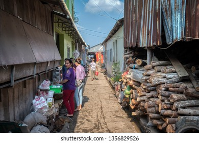 Sihanoukville, Cambodia. February 25,2019 : Scene of the lifestyle of people living along the fisherman home or houses at Sihanoukville fishing Village.