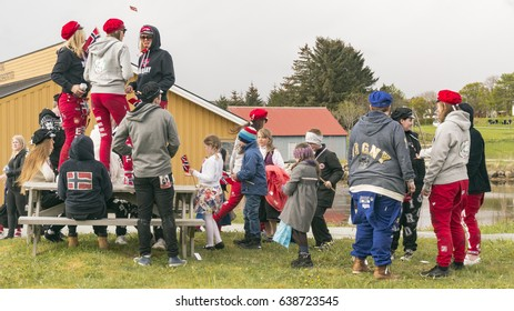 Siholmen Froya, Norway - May 17, 2016:  Norwegian high school students in their final spring semester in the celebrations are known as russ.