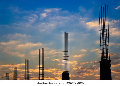 Sihuouette Structural Steel Round Pipe Construction in the sunset.