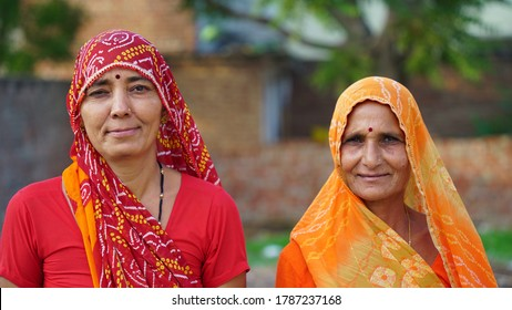 Sikar, Rajasthan, India - July 2020: Indian Hindu woman in traditional cloth, peoples daily lifestyle in rural village