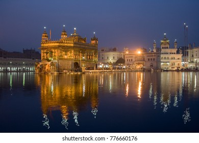 The Sikh Golden Temple of Amritsar in the town of Amritsar in the Punjab region of India