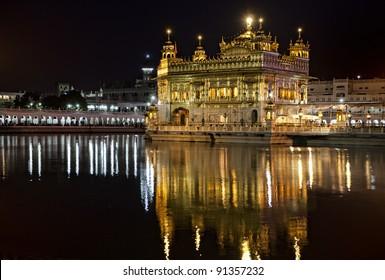 Sikh Golden temple Harmandir Sahib in Amritsar at night, Punjab, India