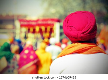 Sikh man with turbant called Dumalla during a religious celebration with old toned effect