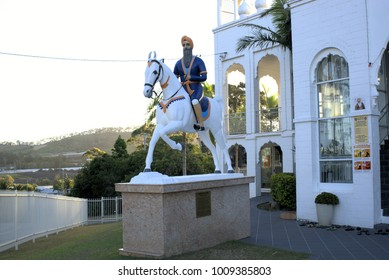 Sikh warrior statue of Hari Singh Nalwa at Sikh temple at Woolgoolga in Australia as on 21 Jan 2018. Hari Singh Nalua Commander-in-chief of the Sikh Khalsa Army, the army of Sikh Empire