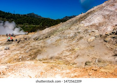 Sikidang Crater at Dieng Plateau, an Active Volcano Crater in Central Java, Indonesia
