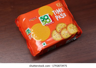 Sikkim, India - August 09, 2020:  Britannia 50-50 time pass, Sweet & Salty Cookies or biscuit in a orange cover pack, by Britannia Industries Limited, India
