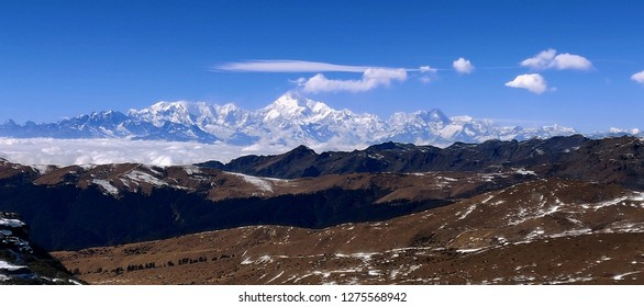 Sikkim India  The great himalayas range kanchenjunga snow covered peaks