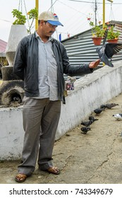 SIKKIM, INDIA - MAR 13, 2017: Unidentified Indian man in a cap and black jacket feeds pigeons on the street.