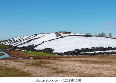 Silage storage in countryside.