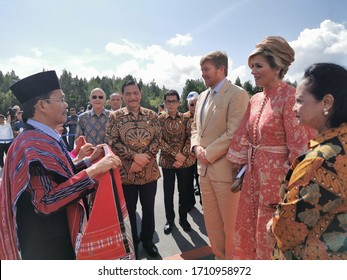 Silangit, North Sumatera, Indonesia - March 12, 2020: King Willem-Alexander and Queen Maxima of the Netherlands' visit to North Sumatera, Indonesia as part of the State Visit