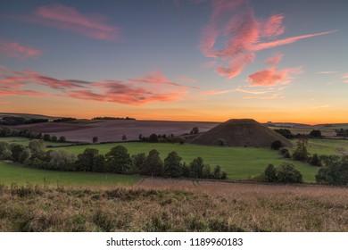 Silbury hill at Sunset, Avebury, Wiltshire, England