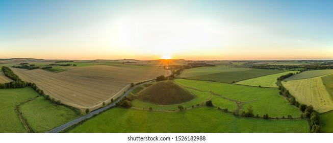Silbury Hill at Sunset in Wiltshire, UK