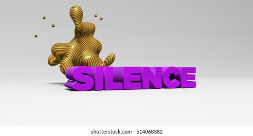 SILENCE - 3D rendered colorful headline illustration.  Can be used for an online banner ad or a print postcard.