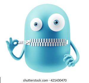 Silence Emoji Cartoon. 3d Rendering.