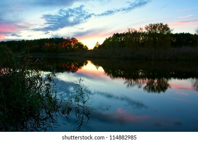 in silence on evening scene on river