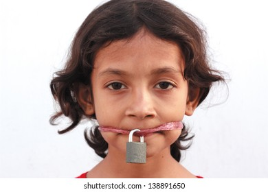 Silence protesting with locked mouth