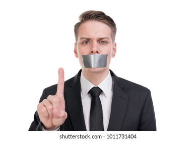 Silenced businessman with tape on his mouth