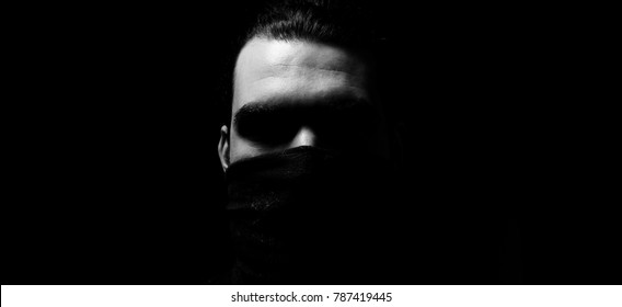 Silenced concept. Man with covered mouth. silhouette man concept. Censored concept.
