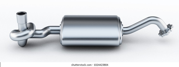 Silencer of exhaust gases of the car tied in a knot. 3D illustration.