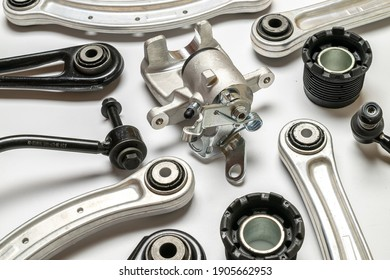 Silent blocks. Set of new metal car part. Auto motor mechanic spare or automotive piece isolated on white background. Technology of mechanical gear