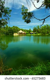 Silent lake with asian house.